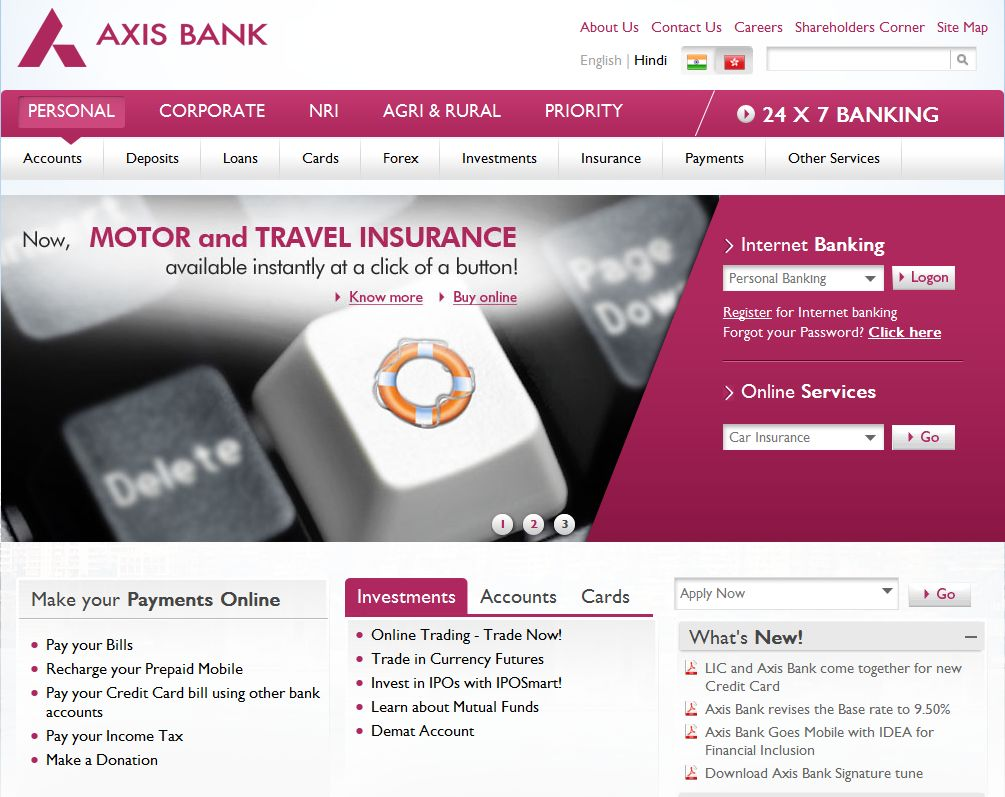 Axis Bank website