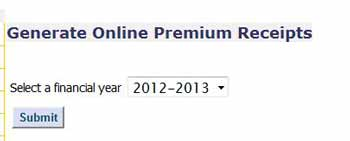 Select Financial Year to See it's premium receipt