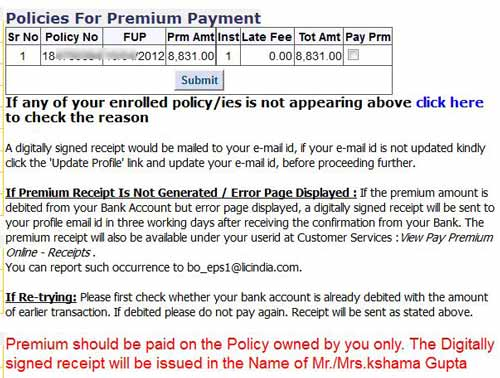 Confirm Policies for Premium Payment