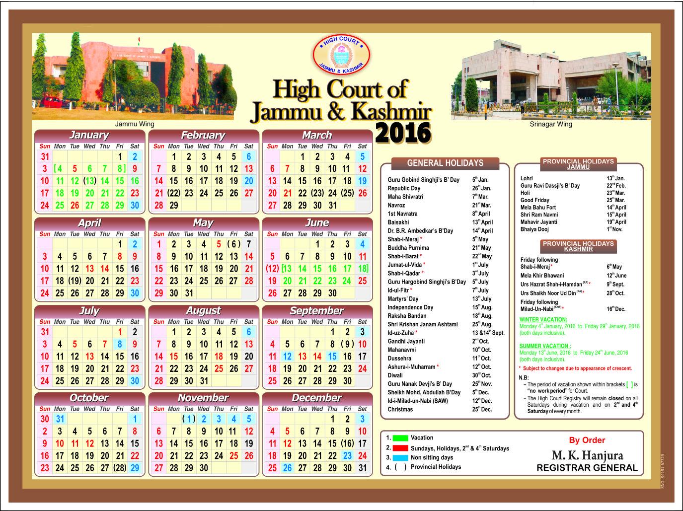Calendar Jammu : Jammu kashmir high court holiday list india