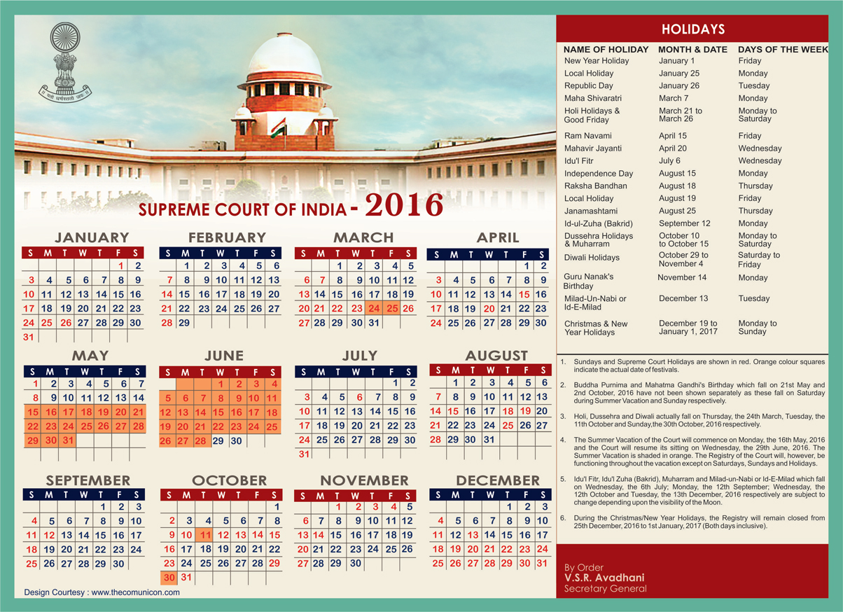 Rajasthan Calendar June : Supreme court of india holiday list customer care